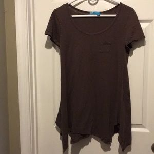 Fresh produce made in USA flowing brown shirt